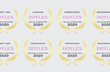 2020 Doyle's Guide Awards Announcement for Wills and Estates Lawyers in Canberra, ACT.