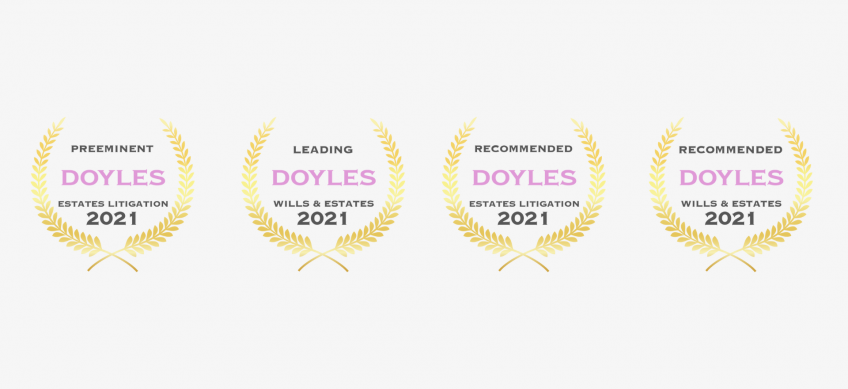 2021 Doyle's Guide Awards Announcement for Wills and Estates Lawyers in Canberra, ACT.